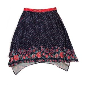 Xhileration Skirt Red Black Floral Asymmetric Hem
